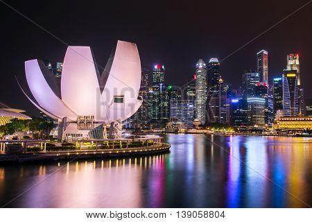Singapore skyline and Marina bay view at night