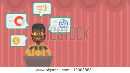 African-american speaker standing at podium with microphones at business conference. Speaker giving speech at podium and speech squares around him. Vector flat design illustration. Horizontal layout.