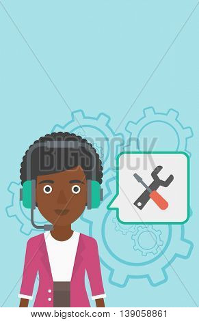 An african-american operator of technical support wearing headphone set. Technical support operator and speech square with screwdriver and wrench. Vector flat design illustration. Vertical layout.