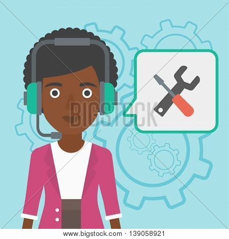 An african-american operator of technical support wearing headphone set. Technical support operator and speech square with screwdriver and wrench. Vector flat design illustration. Square layout.