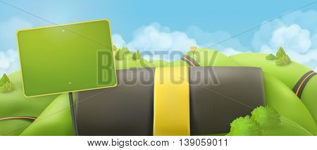 Road and sign, 3d cartoon nature landscape, vector background, countryside panorama.