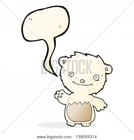 cartoon waving polar bear cub with speech bubble