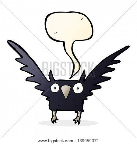 cartoon spooky bird with speech bubble