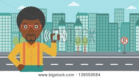 An african-american man holding ringing mobile phone on a city background. Man answering a phone call. Man with ringing phone in hand. Vector flat design illustration. Horizontal layout.