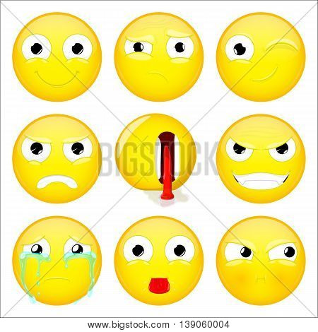 Emoji set. Smile what wink angry dead evil crying show tongue sulk emoticon. Vector illustration.