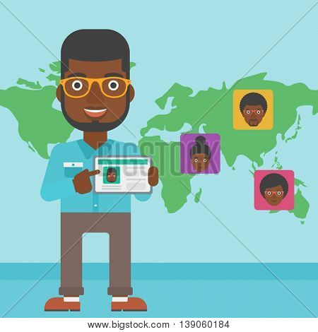 An african-american man holding tablet computer with social network user profile on a screen on the background of map with avatars of social network. Vector flat design illustration. Square layout.