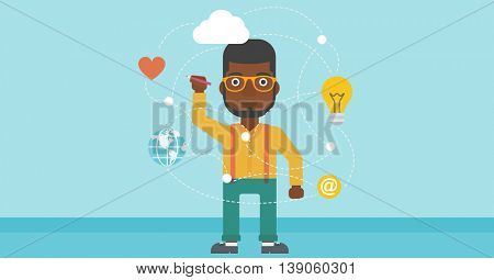An african-american man writing on a virtual screen. Businessman drawing a cloud computing diagram on a virtual screen. Cloud computing concept. Vector flat design illustration. Horizontal layout.