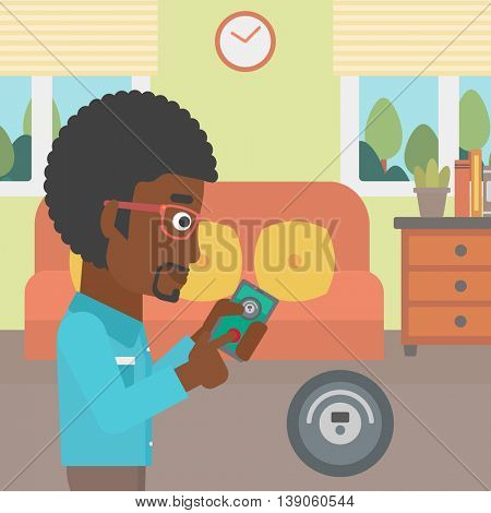 An african-american man controlling robotic vacuum cleaner with his smartphone in the living room. Vector flat design illustration. Square layout.
