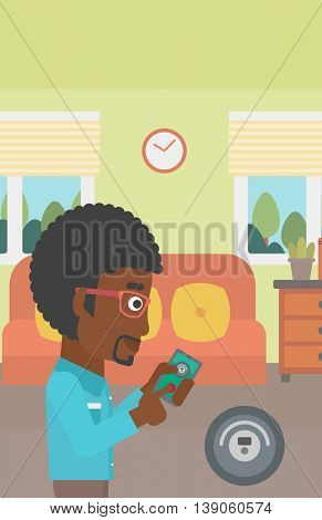 An african-american man controlling robotic vacuum cleaner with his smartphone in the living room. Vector flat design illustration. Vertical layout.