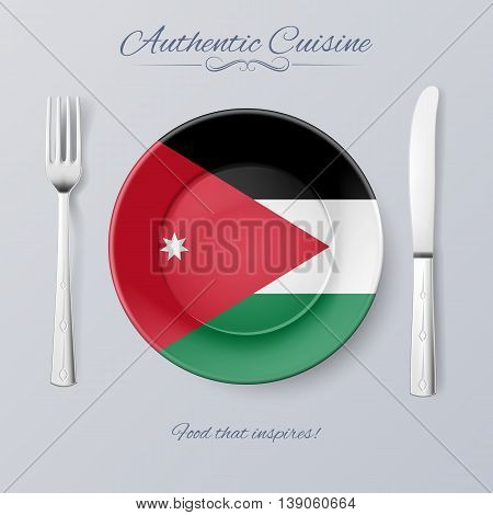 Authentic Cuisine of Jordan. Plate with Jordanian Flag and Cutlery