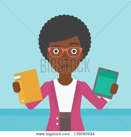 An african-american woman choosing between tablet computer and paper book. Woman holding book in one hand and tablet computer in the other. Vector flat design illustration. Square layout.