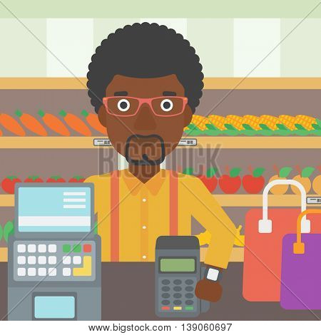 An african-american man paying wireless with his smart watch at the supermarket. Male customer making payment for purchase with smart watch. Vector flat design illustration. Square layout.
