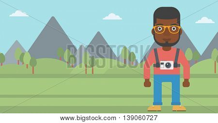 An african-american man with a digital camera on his chest. Tourist with a digital camera standing on the background of mountains. Vector flat design illustration. Horizontal layout.