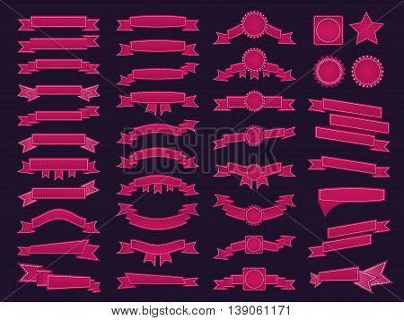 Big Set Of Embroidered Pink Ribbons And Stumps On Dark Purple Background. Can Be Used For Banner, Aw