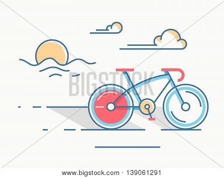 Sport bike line style. Transportation utdoor and travel with cycle, vector illustration