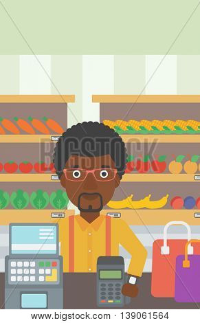 An african-american man paying wireless with his smart watch at the supermarket. Male customer making payment for purchase with smart watch. Vector flat design illustration. Vertical layout.