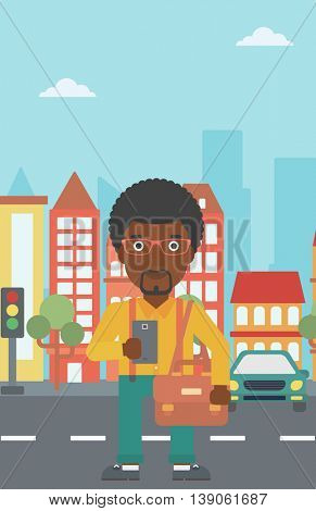 An african-american man using a smartphone. Businessman with briefcase working with smartphone on a city background. Vector flat design illustration. Vertical layout.