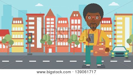 An african-american man using a smartphone. Businessman with briefcase working with smartphone on a city background. Vector flat design illustration. Horizontal layout.