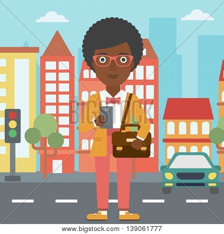 An african-american woman  using a smartphone. Business woman with briefcase working with smartphone on a city background. Vector flat design illustration. Square layout.