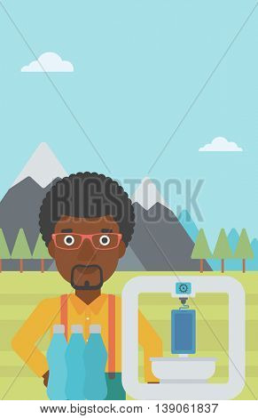 An african-american man standing near 3D printer on the background of mountains. Three D printer making a smartphone using recycled plastic bottles. Vector flat design illustration. Vertical layout.