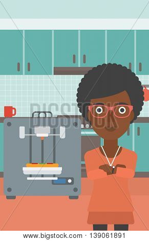 An african-american woman working with three D printer making pizza on the background of kitchen. Woman with crossed arms standing near 3D printer. Vector flat design illustration. Vertical layout.