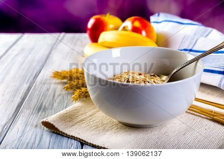 Bowl Of Cereal. Healthy Breakfast.
