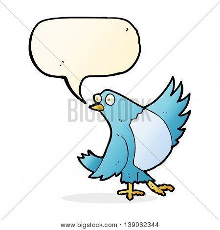 cartoon dancing bluebird with speech bubble