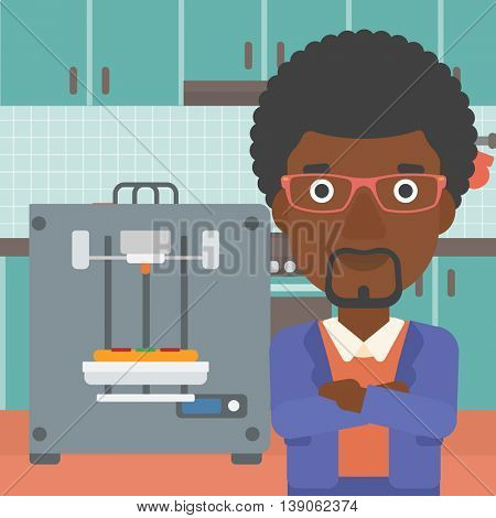 An african-american woman working with three D printer making pizza on background of kitchen. Man with crossed arms standing near 3D printer. Vector flat design illustration. Square layout.