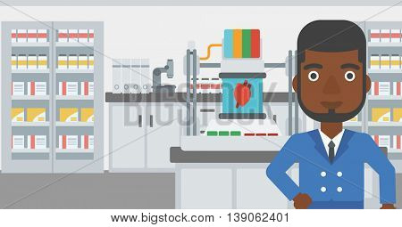 An african-american man standing near 3D printer making a heart on the background of laboratory. Man working with 3D printer. Vector flat design illustration. Horizontal layout.