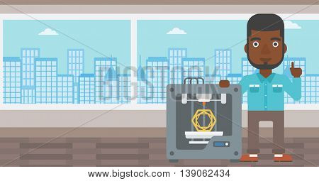An african-american man standing near three D printer and pointing forefinger up. Engineer using 3D printer. Man working with 3D printer. Vector flat design illustration. Horizontal layout.