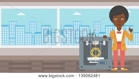 An african-american woman standing near tree D printer and pointing forefinger up. Engineer using 3D printer. Woman working with 3D printer. Vector flat design illustration. Horizontal layout.