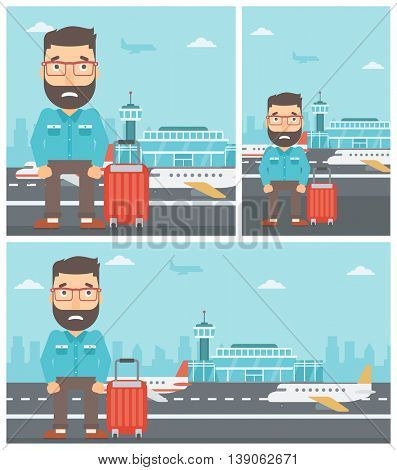 Hipster man with the beard frightened by future flight. Young man suffering from fear of flying. Phobia, fear of flying concept. Vector flat design illustration. Square, horizontal, vertical layouts.