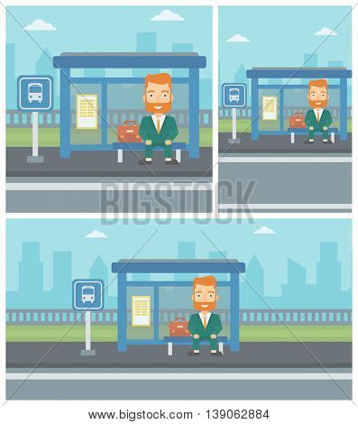 A hipster man with the beard waiting for a bus at a bus stop on a city background. Young man sitting at the bus stop. Vector flat design illustration. Square, horizontal, vertical layouts.