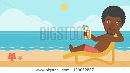 An african-american man sitting in chaise longue and holding a cocktail in hand on the background of sand beach with blue sea. Vector flat design illustration. Horizontal layout.