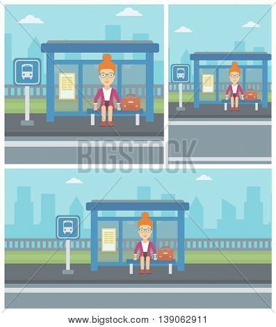 Woman with briefcase waiting for a bus at a bus stop on a city background. Young woman sitting at bus stop at the city street. Vector flat design illustration. Square, horizontal, vertical layouts.