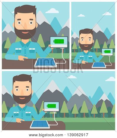 Man charging tablet computer with solar panel on the background of mountains. Charging digital tablet from portable solar panel. Vector flat design illustration. Square, horizontal, vertical layouts.