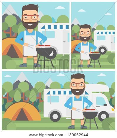 Young man cooking meat on barbecue on the background of camper van. Man travelling by camper van and having barbecue party. Vector flat design illustration. Square, horizontal, vertical layouts.
