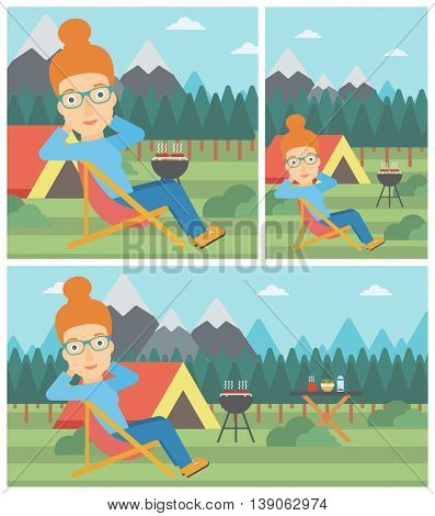 Young woman sitting in a folding chair in the camp. Travelling woman relaxing and enjoying her camping holiday near the tent. Vector flat design illustration. Square, horizontal, vertical layouts.