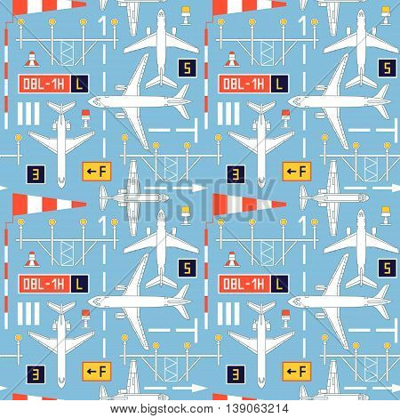 Seamless vector pattern with airplanes number four can be used for graphic design, textile design or web design.