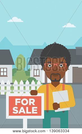 An african-american real estate agent offering the house. Male broker with placard for sale and documents in hands standing in front of the house. Vector flat design illustration. Vertical layout.