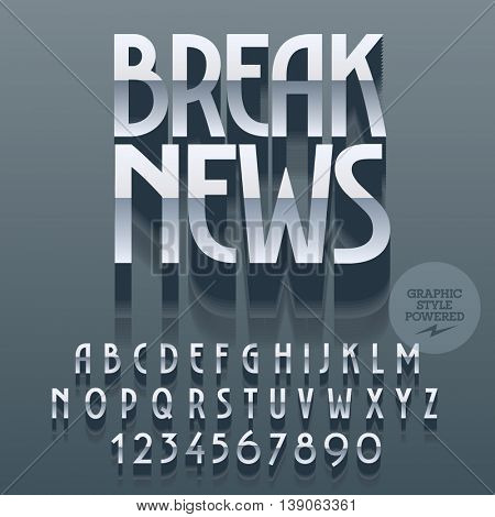 Set of glossy alphabet letters, numbers and punctuation symbols. Vector reflective silver poster with text Break news. File contains graphic styles