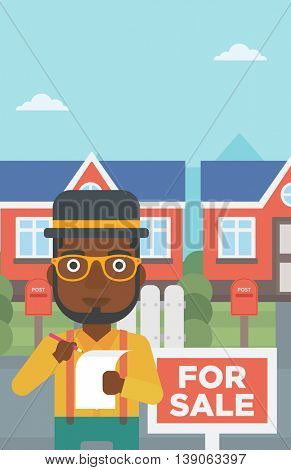 An african-american real estate agent signing contract. Real estate agent standing in front of the house with placard for sale. Vector flat design illustration. Vertical layout.