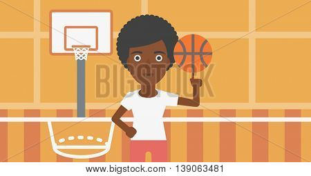 An african-american sportswoman spinning basketball ball on her finger. Young basketball player standing on the basketball court. Vector flat design illustration. Horizontal layout.