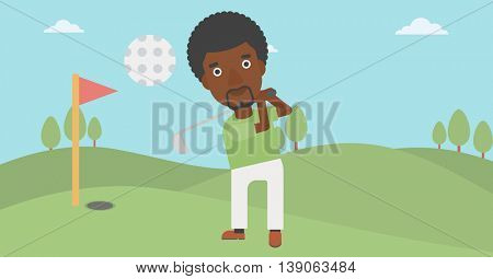 An african-american golfer with the beard hitting the ball. Professional golfer on golf course. Young man playing golf. Vector flat design illustration. Horizontal layout.