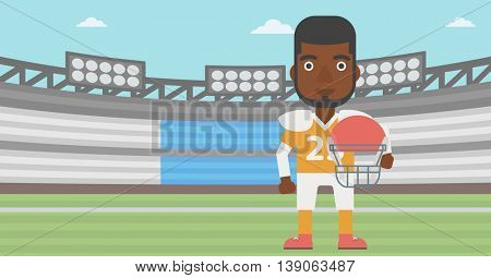 An african-american rugby player with the beard holding ball and helmet in hands. Male rugby player in uniform standing on rugby stadium. Vector flat design illustration. Horizontal layout.