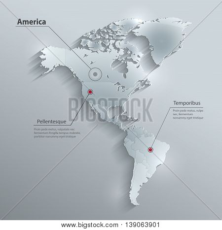 America political map flag glass card paper 3D vector individual states separate