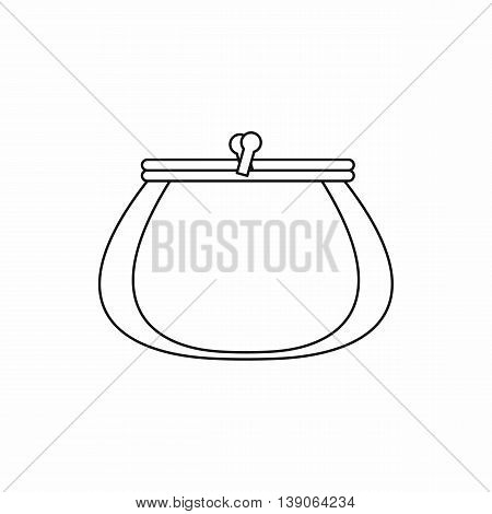 Retro purse icon in outline style isolated vector illustration