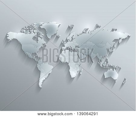 World political map glass card paper 3D raster individual states separate
