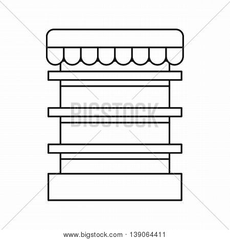 Empty supermarket refrigerator icon in outline style isolated vector illustration
