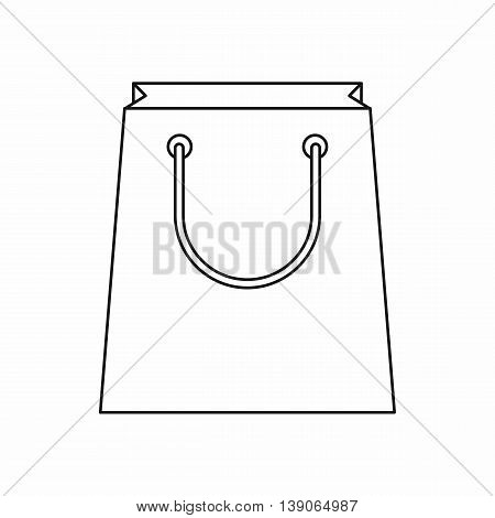 Paper shopping bag icon in outline style isolated vector illustration
